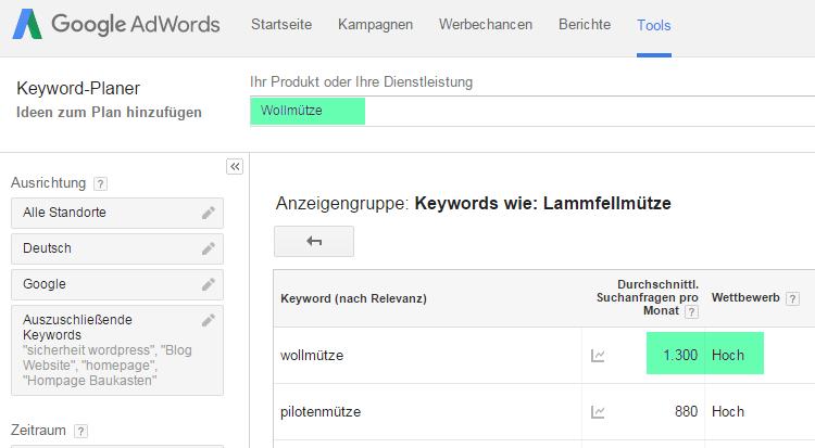 Keyword Planer - Ranking erhöhen